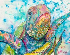 """""""Turtle Close Up"""" Original Painting by Jen Callahan. This painting was done on full sheet of acres 300lb watercolor paper. This watercolor painting was painted with watercolors and liquid acrylics. My"""