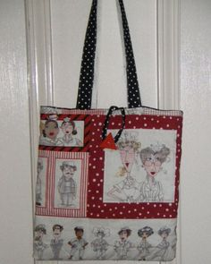 Nurse Tote Loralie Nifty Nurse Design Fabric by sewsweetfinery, $19.99