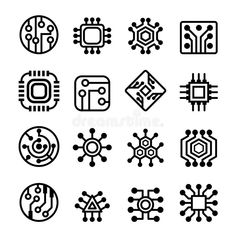 Illustration about Computer Chips and Electronic Circuit icons. Illustration of part, black, circuit - 73847893 Tech Tattoo, 4 Tattoo, Body Art Tattoos, Small Tattoos, Circuit Board Tattoo, Circuit Board Design, Electronic Tattoo, Electronic Circuit, Computer Tattoo