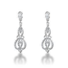 Pendientes de novia estilo vintage. Vintage style bridal earrings. Precious earrings for the bride. www.niobejoyas.com