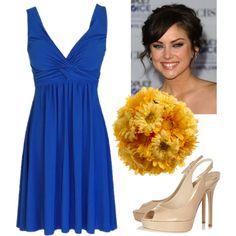 Cobalt blue bridesmaid - love the color schemes together