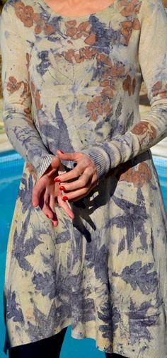#ecoprint Jersey-vestido de punto teñido con tintes por Sedaniatienda en Etsy
