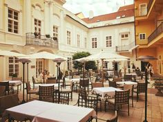 Our beautiful courtyard ! Prague Hotels, Mansions, House Styles, Beautiful, Home Decor, Decoration Home, Manor Houses, Room Decor, Villas
