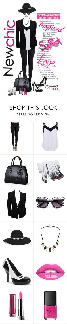 """""""Newchic backless chiffon tank top @lovenewchic"""" by lorrainekeenan ❤ liked on Polyvore featuring Balmain, Yves Saint Laurent, Maybelline and NARS Cosmetics"""
