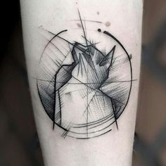 Geometric cat tattoo by FRANK CARRILHO. #tattoo #cat #blackandwhite