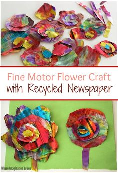 Recycled newspaper flower craft for kids! A colorful fine motor craft for preschoolers using recycled materials! : Recycled newspaper flower craft for kids! A colorful fine motor craft for preschoolers using recycled materials! Recycled Crafts Kids, Recycled Art Projects, Easy Art Projects, Projects For Kids, Recycle Crafts, Reuse Recycle, Art From Recycled Materials, Recycled Tires, Reduce Reuse