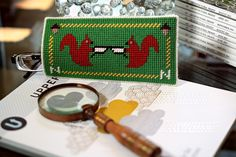 Needlepoint on plastic canvas glasses case for Nick :D