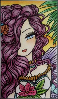 Original Art by Hannah Lynn Art Colorful Drawings, Art Drawings, Colouring Pages, Coloring Books, Illustrations, Illustration Art, Mermaid Coloring Book, Hannah Lynn, Watercolor Mermaid