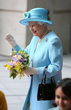 Queen Elizabeth II departs after visiting the new BBC Broadcasting House on 7 June 2013 in London