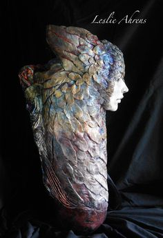 Valkyrie Owl Series  Raku, Vase  Just over 20 inches tall, 9 wide, at the top.    My beloved dogs, my walking companions, are often to be