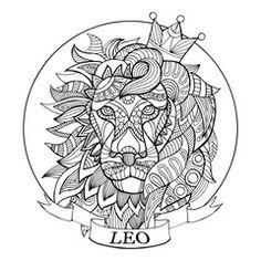 Vector: Lion zodiac sign coloring book vector