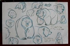 Here are some random exploratory drawings done VERY early in the process of making Brother Bear. - The Art of Aaron Blaise Animal Sketches, Animal Drawings, Drawing Sketches, Animation Reference, Art Reference, Bear Sketch, Bear Character, Bear Drawing, Brother Bear