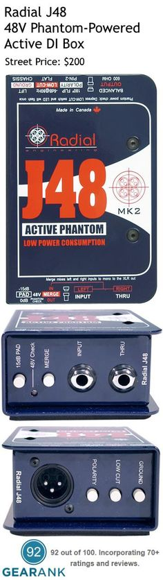Radial J48. 48V Phantom-Powered Active DI Box. Features: - Active Direct Box Design - 48-Volt phantom powered - High rail voltage but with minimal power draw - Does not choke even when cranked - Low inter-modulation distortion. - With merge function. - With 80Hz highpass roll-off filter for clearing muddiness and increasing headroom. For a detailed guide to DI Boxes see https://www.gearank.com/guides/di-box