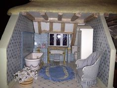 Franklin Mint Rose Cottage Limited Edition Doll House   Bathroom