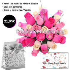 Pack especial #sanvalentin .   - Ramo de #rosas - Caja de #bombones -Tarjeta felicitación  http://www.rosasdemadera.org/san-valentin/100-pack-especial-san-valentin.html
