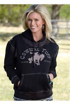 Cowgirl Tuff Black Bucking Horse Hoodie