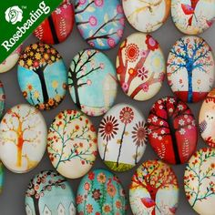 20 PCS 18x25MM Mixed Oval Flat Back Handmade Photo Glass Cabochon - Image Glass Cabochons