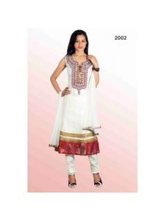 Aara White & Red Net Churidar Kameez with Duppatta-2002