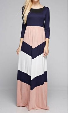Cecily modest 3/4 sleeve colorblock maxi dress with bold chevron design and A-line finish in Navy/Dusty Pink.