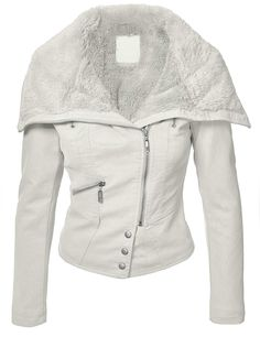 Made by Johnny Womens Faux Fur Mix Vegan Leather Jacket XS WHITE