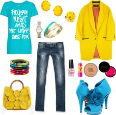 """Turquoise and yellow"" by metrobasics ❤ liked on Polyvore"