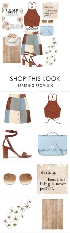 """suede patchwork skirt"" by freshdee ❤ liked on Polyvore featuring Boohoo, Vince, The Cambridge Satchel Company, Chloé and Global Views"