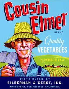Cousin Elmer Brand Vegetables, on BoxOfApples.com.