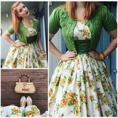Apple green cardi, yellow rose sprig print 50s dress for spring
