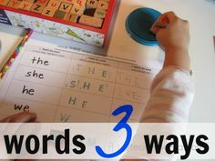 words 3 ways: great game/worksheet for emerging writing skills, sight words, & sound families. Makes me want a stamps set. :)