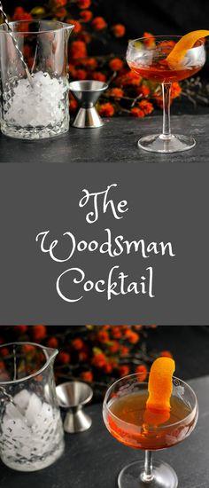 The Woodsman Cocktail - recipe, alcohol, easy, cocktails, applejack, apple brandy, ginger liqueur, maple syrup, bitters