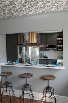 KItchen Pass Through - Contemporary - kitchen - Joy Tribout Half Wall Kitchen, Kitchen Pass, Kitchen Stove, Kitchen Redo, Living Room Kitchen, Home Decor Kitchen, Kitchen Interior, New Kitchen, Home Kitchens