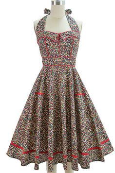 piped detailed halter sun dress with pockets - ditsy floral