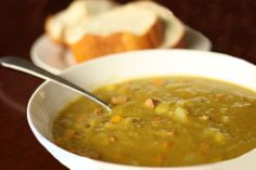 Crock Pot Split Pea Soup - 1 pkg (about 2 1/2 c or 1 lb) dried split peas, 9 c chicken broth (for thicker, use 8 c), 4 carrots, coarsely chopped, 3 medium potatoes, diced, 3 celery stalks, chopped, 1 onion, finely chopped, 2-3 c diced ham, 1 tsp minced garlic, 1 tsp kosher salt, 1/2 tsp pepper, 1 bay leaf