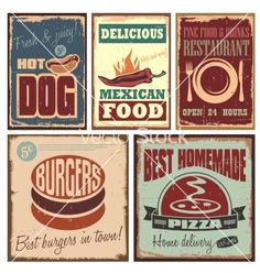 Vintage style tin signs and retro posters vector on VectorStock®