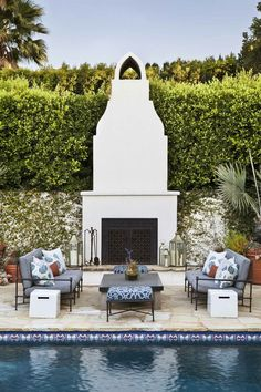 Outdoor Plaster Fireplace