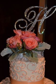 """***SALE 10% off until Aug. 16th!!! HURRY and order soon!!!****    5"""" Tall Initial Monogram Wedding Gold Cake Topper Crystals Swarovski BLing by SpectacularEvents, $60.00"""
