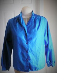 womans blouse, Blue polyester, Long sleeved with a straight yoke,  size 8, 4 button front, mandarin collar, blue buttons, one button cuffs by SouthWestConcepts on Etsy