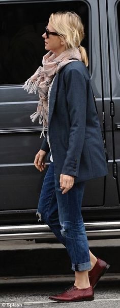 Stylish: Naomi Watts. Distressed jeans, jacket, scarf, oxfords #celebs #casual