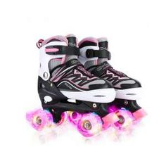 Canvas Adjustable Double Row Roller Skates Shiny Derby Skates Illuminating for Teens and Youth Gets Womens Roller Skates Light Up Wheels