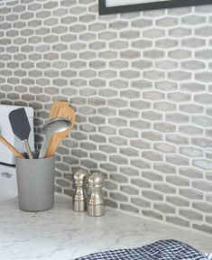Kitchen backsplash? Elongated hex tile. Flooranddecor.com Villa heirloom pewter. {via centsationalgirl.com}