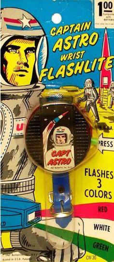 Captain Astro Wrist Flashlight ( Retro / Vintage toy / atomic age / space age / astronaut / outer pace / retro future / futurism )