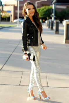 Silver Glitter Pants & High Heels with Black Leather Jacket Hijab Casual, Ootd Hijab, Dress Outfits, Fashion Dresses, Work Outfits, Pants Outfit, Casual Outfits, Sequin Leggings, Sparkly Leggings