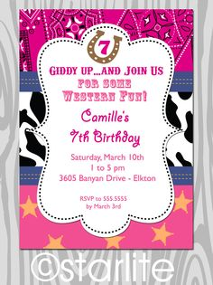Western theme Birthday Party Invitation - Pink Bandana, Cowgirl theme birthday invitation - childrens birthday - PRINTABLE. $15.00, via Etsy.