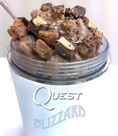"Quest peanut butter cups Recipes Peanut Butter Cup Cookie Dough Blizzard! ""Say goodbye to sugary Dairy Queen Blizzards and hello to this healthy blizzard!"" ""1 scoop of BSN Syntha-6 Isolate Whey Protein (Chocolate Milkshake Flavor) 1 cup of unsweetened vanilla almond milk 2 TBSP Walden Farms Sugar Free/Calorie Free Pancake Syrup (to sweeten it) 3/4 cup of chopped, peeled raw zucchini"" PLUS Protein Ice Cream with PB2 Sauce and Quest Peanut Butter Cup "" 1/4 serving (serving = 1 cup) Blue…"