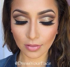 beautiful gold cut crease eye makeup
