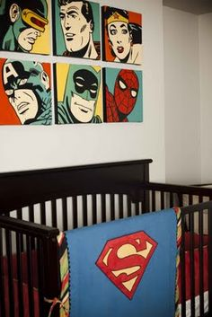 Vintage Superhero Nursery Maybe not quite so literal (re: some of the other room photos) but this is certainly something to ponder.