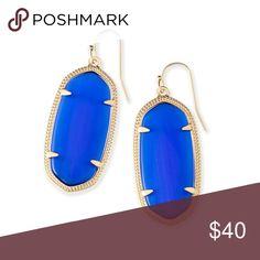 Kendra Scott Elle Earrings Cobalt blue stone with gold hardware Kendra Scott Jewelry Earrings