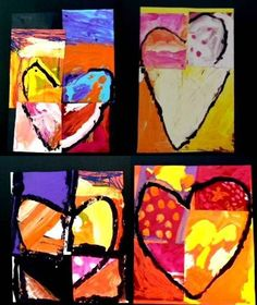 Pop Art Hearts inspired by Jim Dine. What my Kindergarten art students are currently working on.