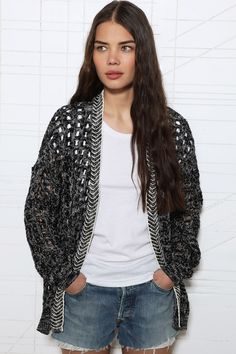 Sparkle & Fade Grid Mesh Cardigan at Urban Outfitters