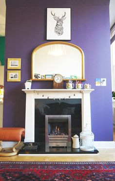 Paint colors that match this Apartment Therapy photo: SW 0011 Crewel Tan, SW 6817 Gentian, SW 6969 Indulgent, SW 6265 Quixotic Plum, SW 6252 Ice Cube